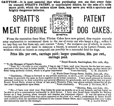 1876_ad_for_Spratt's_Patent_Meat_Fibrine_Dog_Cakes