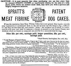 1876_ad_for_Spratt's_Patent_Meat_Fibrine_Dog_Cakes